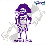 BEACHWEAR PIRATE with MONTEREY BAY CALIFORNIA 6 INCH  DECAL