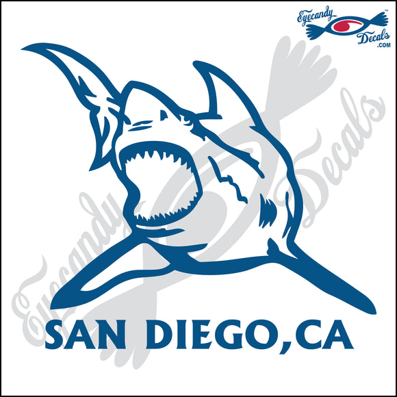 SHARK with SAN DIEGO CALIFORNIA 6 INCH  DECAL