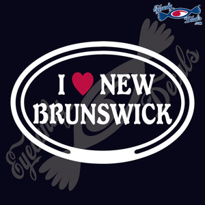 "CANADA  I LOVE NEW BRUNWICK OVAL  5""  WHITE & RED DECAL"