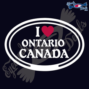 "CANADA  I LOVE ONTARIO CANADA OVAL  5""  WHITE & RED DECAL"