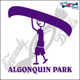 CANADA MAN CARRYING CANOE NAMEDROP ALGONQUIN PARK 6 INCH  DECAL