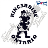 CANADA BAGPIPE PLAYER with KINCARDINE ONTARIO 6 INCH  DECAL