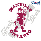 CANADA BAGPIPE PLAYER with MAXVILLE ONTARIO 6 INCH  DECAL