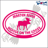 CANADA MOOSE ON THE LOOSE IN MARTEN RIVER IN OVAL 5 INCH  DECAL