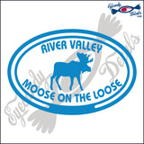 CANADA MOOSE ON THE LOOSE IN RIVER VALLEY IN OVAL 5 INCH  DECAL