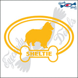 "DOG BONE EURO WITH SHELTIE  5"" DECAL"