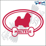 "DOG BONE EURO WITH MALTESE  5"" DECAL"