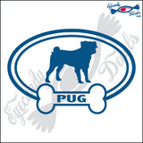 "DOG BONE EURO WITH PUG  5"" DECAL"
