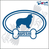 "DOG BONE EURO WITH AUSSIE  5"" DECAL"