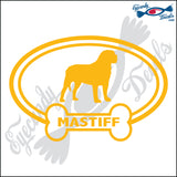 "DOG BONE EURO WITH MASTIFF  5"" DECAL"
