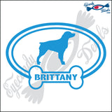"DOG BONE EURO WITH BRITTANY  5"" DECAL"