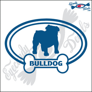 "DOG BONE EURO WITH BULLDOG  5"" DECAL"