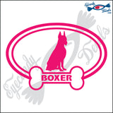 "DOG BONE EURO WITH BOXER  5"" DECAL"