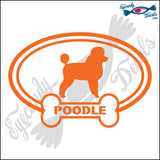 "DOG BONE EURO WITH POODLE  5"" DECAL"