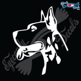 "GREAT DANE DOG HEAD  5"" DECAL"