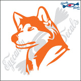 "HUSKY DOG HEAD  5"" DECAL"