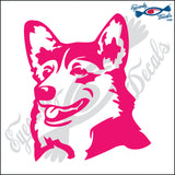 "CORGI DOG HEAD  5"" DECAL"