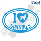 "I LOVE SPANIELS  5"" DECAL"