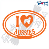 "I LOVE AUSSIES  5"" DECAL"