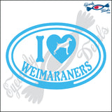"I LOVE WEIMARANERS  5"" DECAL"