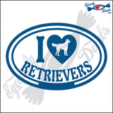 "I LOVE RETRIEVERS  5"" DECAL"