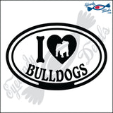 "I LOVE BULLDOGS  5"" DECAL"