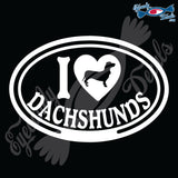 "I LOVE DACHSHUNDS  5"" DECAL"