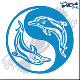 "DOLPHINS AS YING YANG  6""  DECAL"