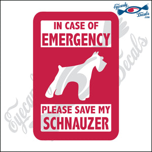 "PLEASE SAVE MY SCHNAUZER  5"" DECAL"