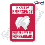 "PLEASE SAVE MY POMERANIANS  5"" DECAL"