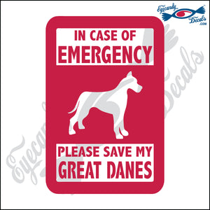 "PLEASE SAVE MY GREAT DANES  5"" DECAL"