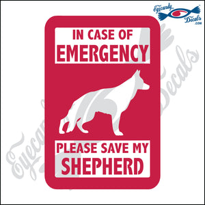 "PLEASE SAVE MY SHEPHERD  5"" DECAL"