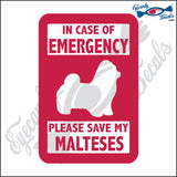 "PLEASE SAVE MY MALTESES  5"" DECAL"