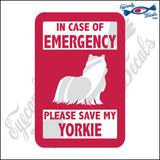 "PLEASE SAVE MY YORKIE  5"" DECAL"