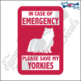 "PLEASE SAVE MY YORKIES  5"" DECAL"