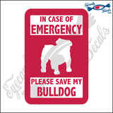"PLEASE SAVE MY BULLDOG  5"" DECAL"