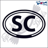 SC for SOUTH CAROLINA in OVAL   5 INCH  DECAL