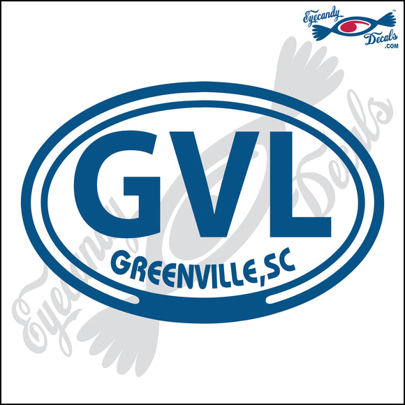 GVL with GREENVILLE SOUTH CAROLINA in OVAL   5 INCH  DECAL