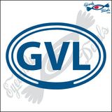 GVL for GREENVILLE SOUTH CAROLINA in OVAL   5 INCH  DECAL