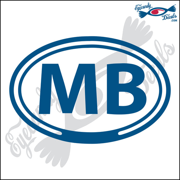 MB for MYRTLE BEACH SOUTH CAROLINA in OVAL   5 INCH  DECAL