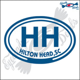 HH with HILTON HEAD SOUTH CAROLINA in OVAL   5 INCH  DECAL