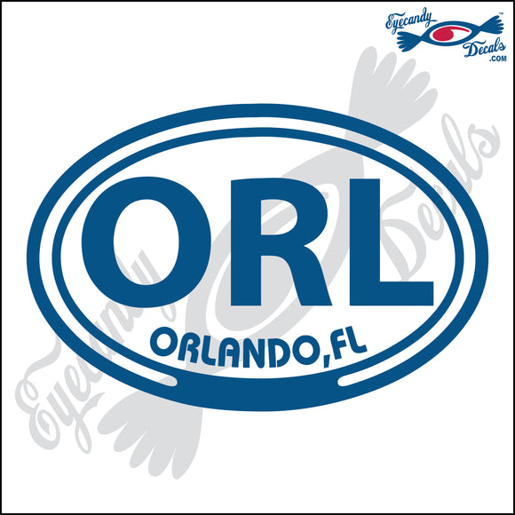 ORL with ORLANDO FLORIDA in OVAL   5 INCH  DECAL