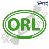 ORL for ORLANDO FLORIDA in OVAL   5 INCH  DECAL