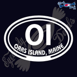 OI with ORRS ISLAND MAINE in OVAL   5 INCH  DECAL