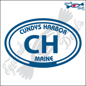 CH with CUNDYS HARBOR MAINE in OVAL   5 INCH  DECAL