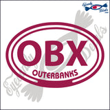 OBX with OUTERBANKS NORTH CAROLINA in OVAL   5 INCH  DECAL