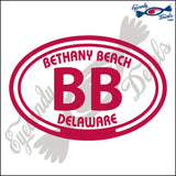 BB with BETHANY BEACH DELAWARE in OVAL   5 INCH  DECAL