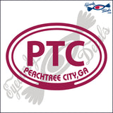 PTC with PEACHTREE CITY GEORGIA in OVAL   5 INCH  DECAL