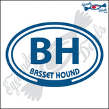 BH with BASSET HOUND in OVAL   5 INCH  DECAL