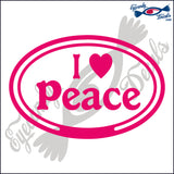 I LOVE PEACE in OVAL   5 INCH  DECAL